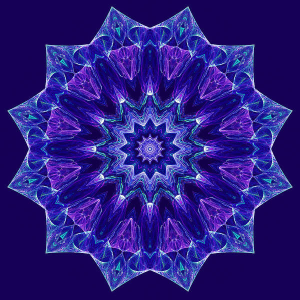 Digital Art - Blue And Purple Mandala Fractal by Ruth Moratz