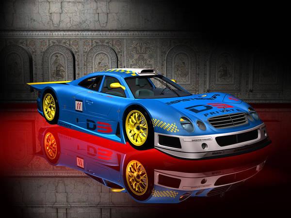 Digital Art - Blue Race Car Series 01 by Carlos Diaz