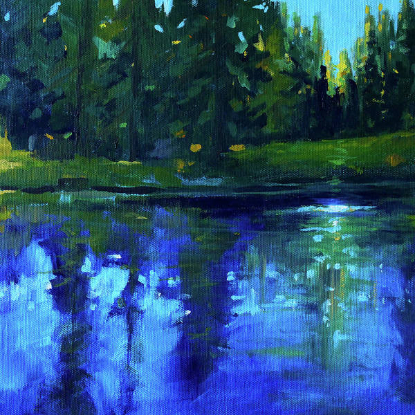 Semi Abstract Painting - Blue Reflection by Nancy Merkle