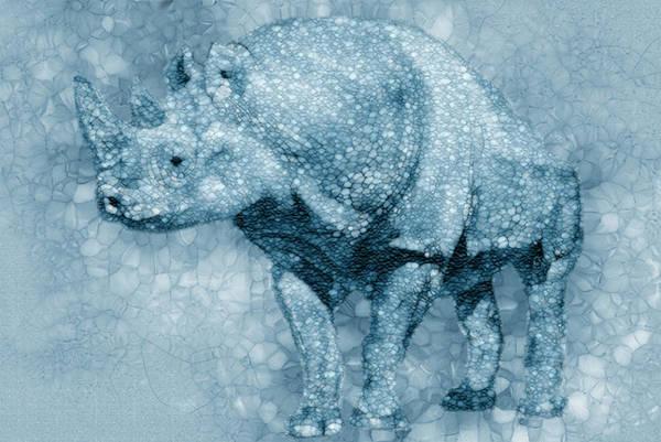 Wall Art - Painting - Blue Rhino by Jack Zulli