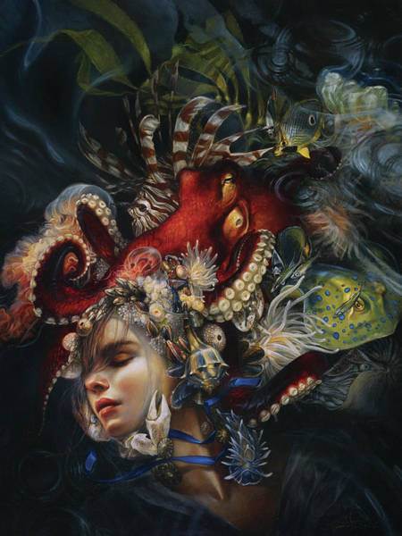 Octopus Painting - Blue Ribbon by Heather Theurer
