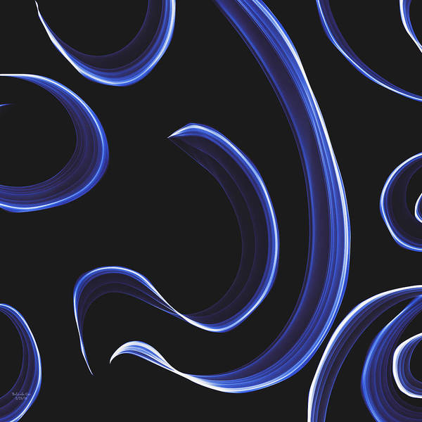 Digital Art - Blue Ribbons by Artful Oasis