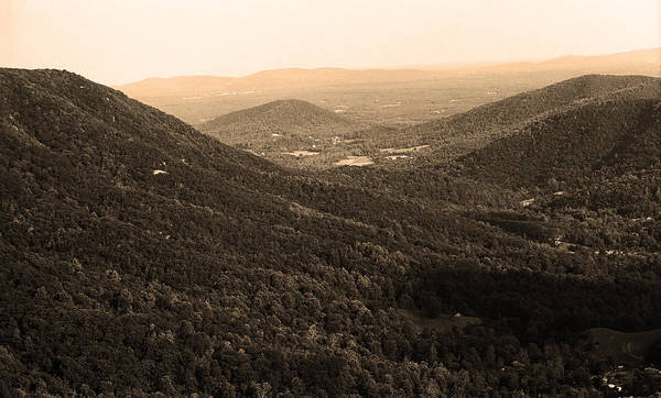 Photograph - Blue Ridge Mountains - Virginia Sepia 11 by Frank Romeo