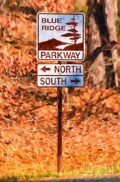 Photograph - Blue Ridge Parkway Sign by Les Palenik