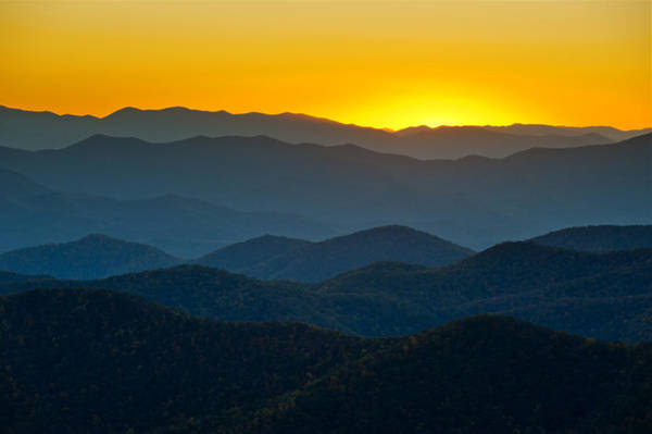 Blue Ridge Parkway Sunset Nc - Afterglow Art Print