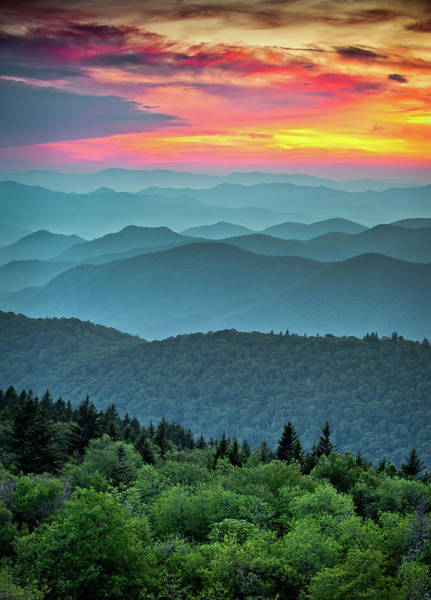 Southern Photograph - Blue Ridge Parkway Sunset - The Great Blue Yonder by Dave Allen