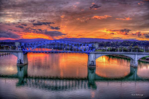 Photograph - Blue Ridge Sunset Chief John Ross Bridge Chattanooga Tennessee Art by Reid Callaway
