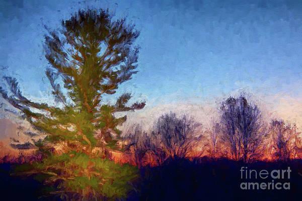 Wall Art - Painting - Blue Ridge Trees At Sunrise Ap by Dan Carmichael