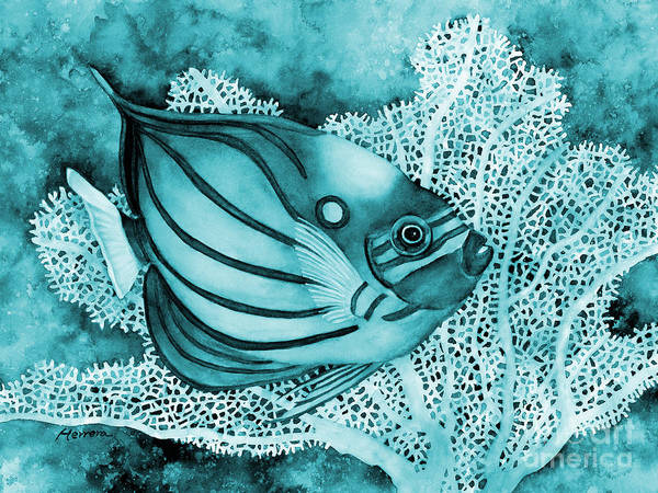 Painting - Blue Ring Angelfish On Blue by Hailey E Herrera