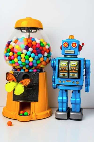 Wall Art - Photograph - Blue Robot And Bubblegum Machine by Garry Gay