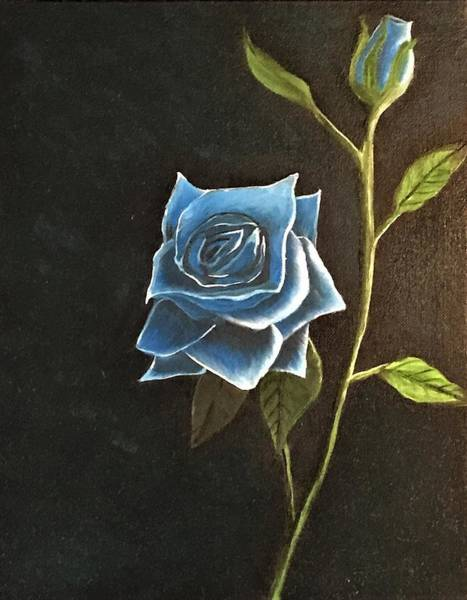 Wall Art - Painting - Blue Rose All Lit Up by Willy Proctor