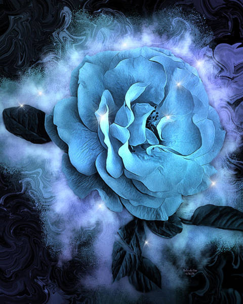 Digital Art - Blue Rose Fantasy by Artful Oasis