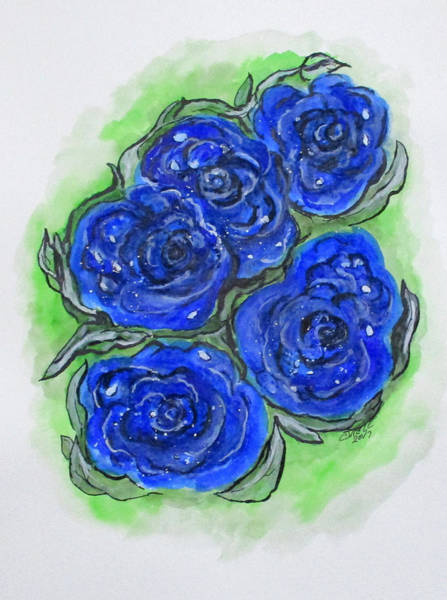 Painting - Blue Rose Fantasy by Clyde J Kell