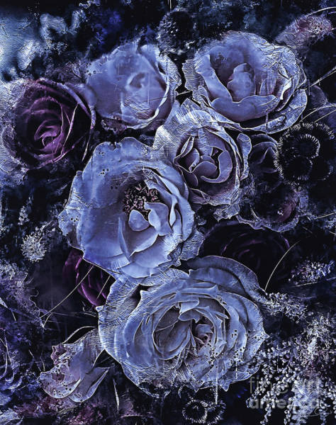 Romantic Flower Mixed Media - Blue Roses Art by Shanina Conway