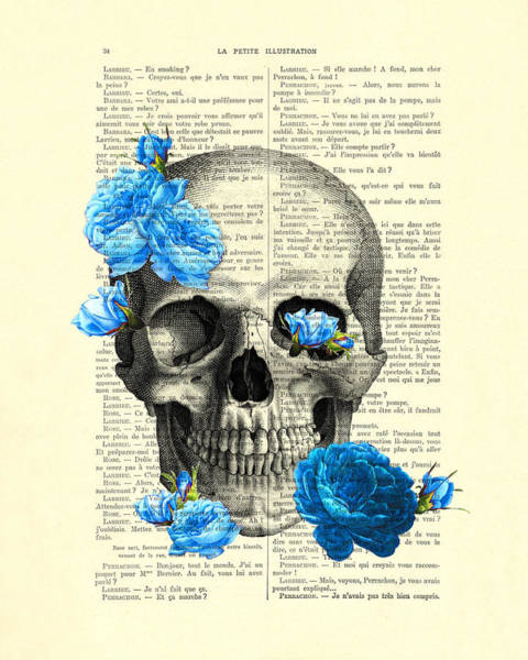 Floral Digital Art - Blue Roses With Skull Art Print by Madame Memento