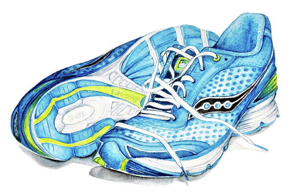 Sneakers Painting - Blue Running Shoes by Heidi Kriel