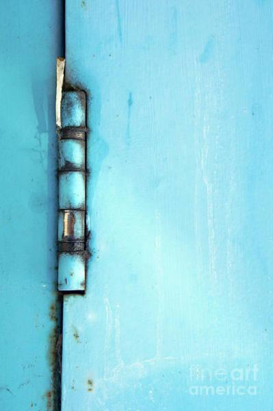 Wall Art - Photograph - Blue Rusty Hinge by Tom Gowanlock