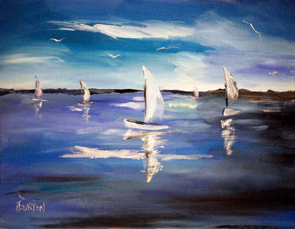 Painting - Blue Sailing by Phil Burton