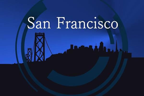 Digital Art - Blue San Francisco Skyline by Alberto RuiZ