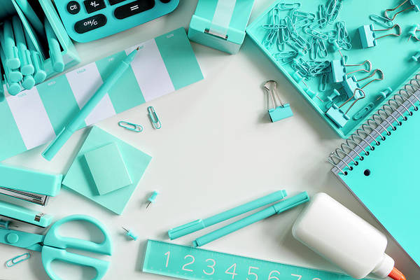 Photograph - Blue School And Office Supplies by Teri Virbickis