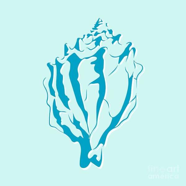 Aquatic Wall Art - Digital Art - Blue Seashell by Lauren Amelia Hughes