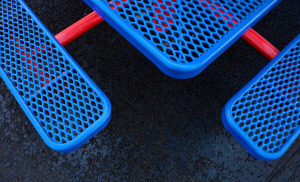 Photograph - Blue Seats And Table Connected By Red by Gary Slawsky