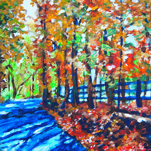 Wall Art - Painting - Blue Shadow Road by Laura Heggestad