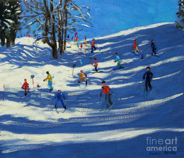Skiing Painting - Blue Shadows by Andrew Macara