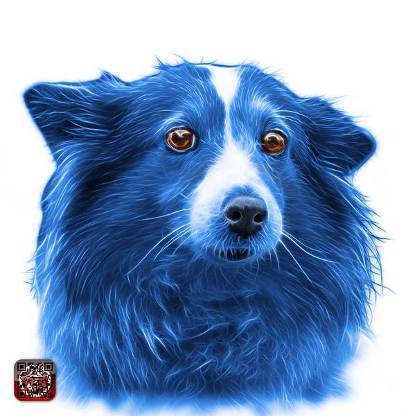 Mixed Media - Blue Shetland Sheepdog Dog Art 9973 - Wb by James Ahn