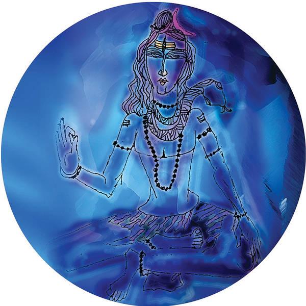 Painting - Blue Shiva  by Guruji Aruneshvar Paris Art Curator Katrin Suter