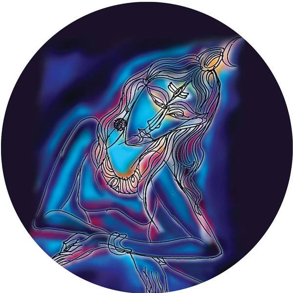 Painting - Blue Shiva Light by Guruji Aruneshvar Paris Art Curator Katrin Suter