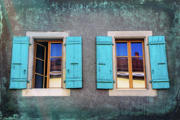 Wall Art - Photograph - Blue Shuttered Windows In Carouge Geneva  by Carol Japp