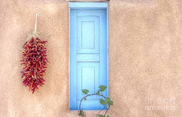 Blue Shutters And Chili Peppers Art Print