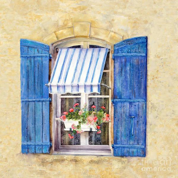 Geranium Wall Art - Painting - Blue Shutters by Bonnie Rinier