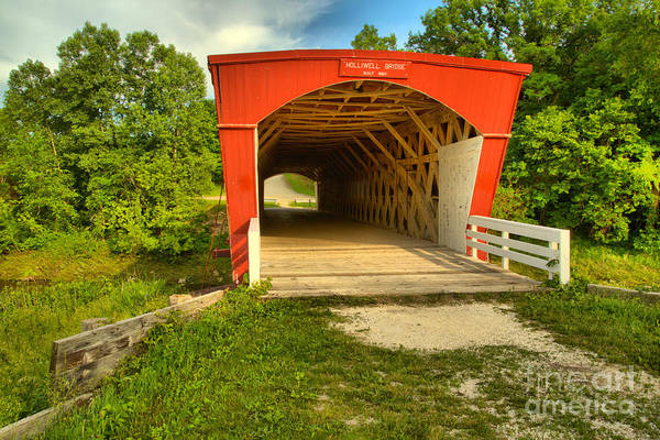 Photograph - Blue Skies Over The Holliwell Covered Bridge by Adam Jewell