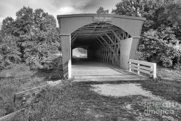 Photograph - Blue Skies Over The Holliwell Covered Bridge Black And White by Adam Jewell