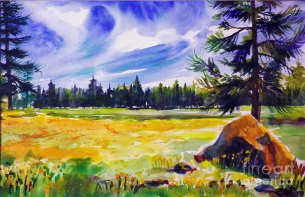Alpine Meadow Painting - Blue Skies Pines And Meadows by Therese Fowler-Bailey