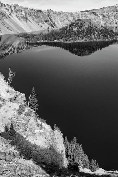 Photograph - Blue Sky Reflection Crater Lake Bw by Frank Wilson