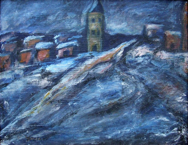Painting - Blue Snow City by Katt Yanda