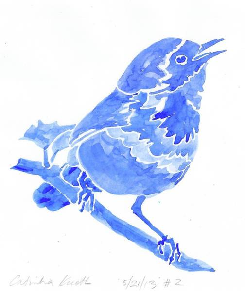 Painting - Blue Songbird Warbler by Catinka Knoth
