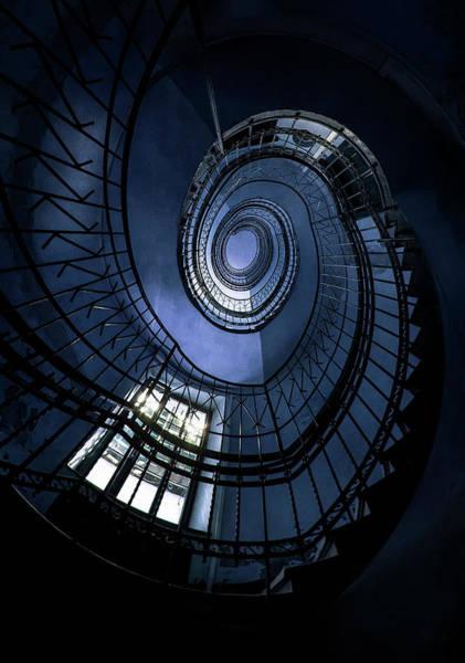 Wall Art - Photograph - Blue Spiral Staircase by Jaroslaw Blaminsky