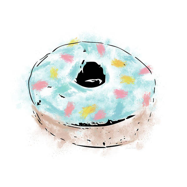 Doughnut Wall Art - Mixed Media - Blue Sprinkle Donut- Art By Linda Woods by Linda Woods