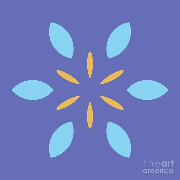 Cyan Digital Art - Mini Mandala Blue Square Yellow Abstract Flower by Drawspots Illustrations