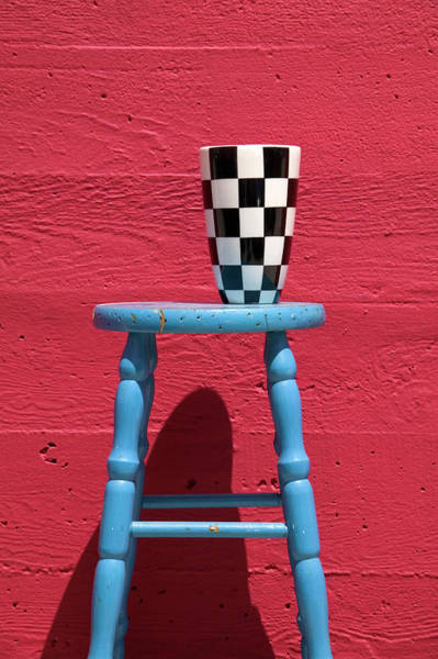 Checker Photograph - Blue Stool by Garry Gay