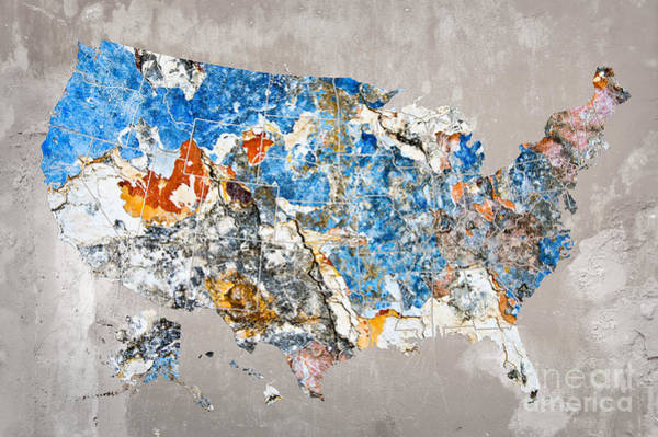 Peeling Photograph - Blue Street Art Us Map by Delphimages Photo Creations