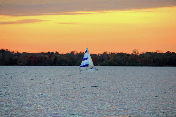 Photograph - Blue Striped Sailboat by Angela Murdock