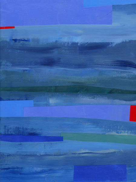 Abstract Acrylic Painting - Blue Stripes 1 by Jane Davies