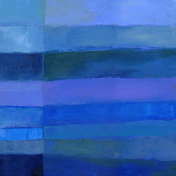 Abstract Acrylic Painting - Blue Stripes 2 by Jane Davies