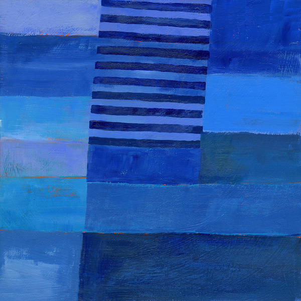 Abstract Acrylic Painting - Blue Stripes 7 by Jane Davies
