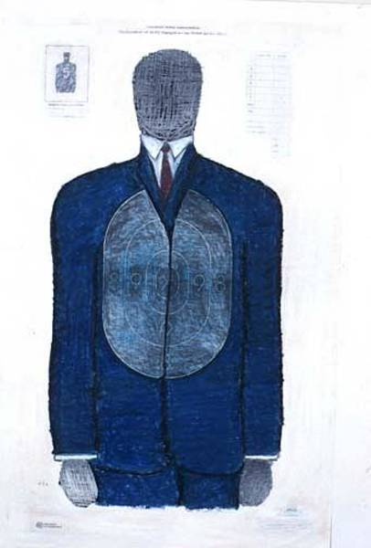 Brook Mixed Media - Blue Suit Target by Billy Knows